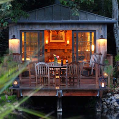 Church's Tiny Boathouse. I like the exterior look of this house, though I'd want a covered deck or screened porch.