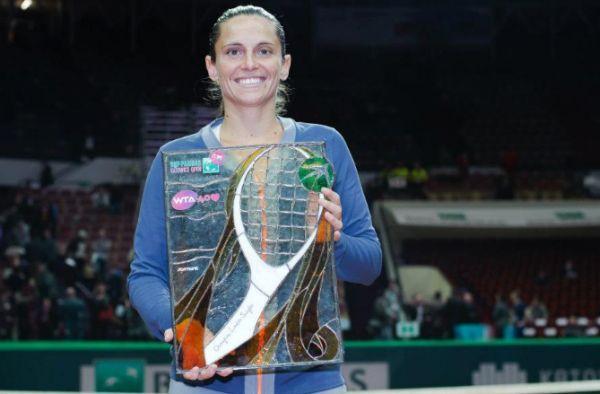 Roberta Vinci cu trofeul de la Katowice