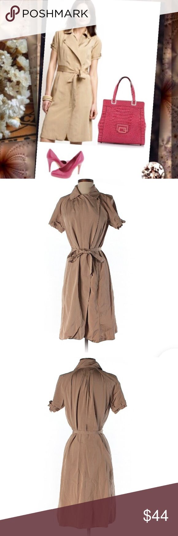 Banana Republic Tan Safari Trench Coat Trenchdress This is a BR size 4 khaki Trench dress. Super cute and the material is great! The left arm is missing a metal loop, as shown in the photo what is supposed to be there and what is missing, however the dress still looks great. There is a small barely noticeable stain on the front of the dress. There's a hidden Zipper and two still sewn up hidden pockets. Tie waist belt. Banana Republic Dresses Midi