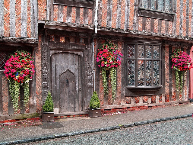 Lavenham ~ Suffolk half timbered house, late mediaeval/Tudor. This stunning village is filled with such gems, testament to it's success as a wool town . The village has no phone lines, no visible aerials in order to maintain it's period charm. There's a nice butchers up the High Street too!