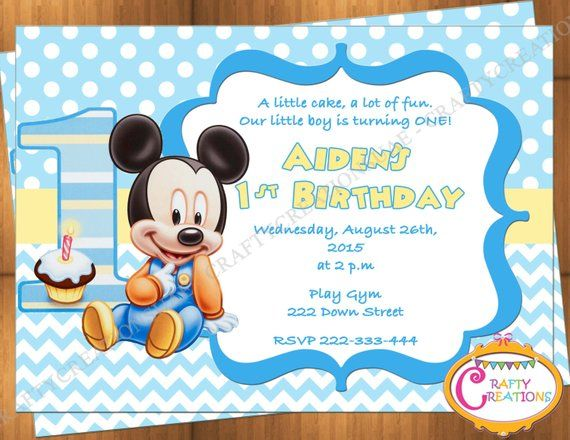 Baby Mickey Mouse First Birthday Invitation Mickey Mouse 1st Birthday Party Invite Printable Digital File Craftycreationsuae Mickey Mouse Birthday Invitations Mickey Mouse 1st Birthday Mickey Mouse Invitation