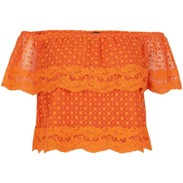 New Look Bright Orange Lace Embroidered Trim Bardot Neck Top (€11) ❤ liked on Polyvore featuring tops, spicy orange, bright colored tops, bright orange top, bright tops, summer tops and orange top