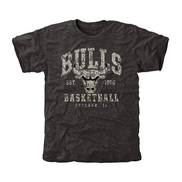 Chicago Bulls Camo Stack Tri-Blend T-Shirt - Black - $29.99