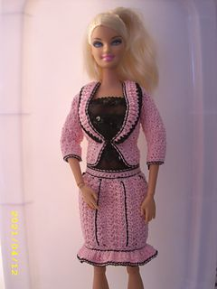 Crochet Barbie, Pink and Black Pinstripe Suit (the belly button type) FREE pattern on Ravelry