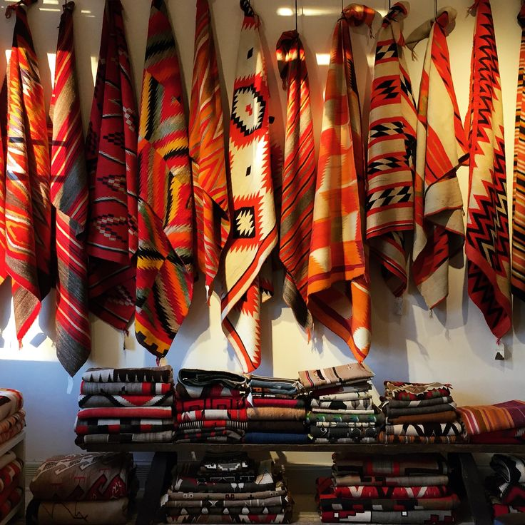 Native American Rugs In Santa Fe: Great Shot Of Transitional Textiles From The Rug Room At