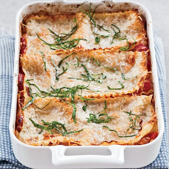 Free-Form Sausage-and-Three-Cheese Lasagna    Holiday entertaining doesn't get much more simple than this hearty lasagna.  #howiholiday