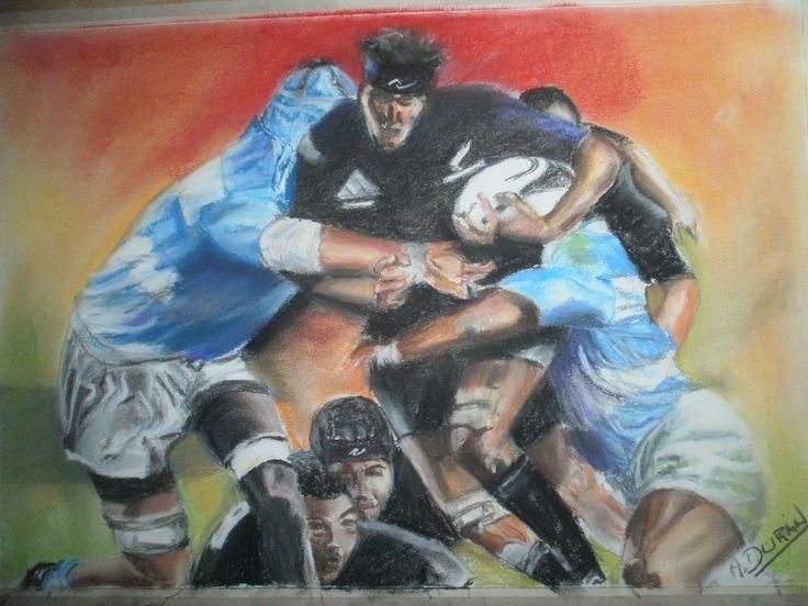 pastel seco sobre papel  titulo no pasaran @rugby @dibujos de rugby @pumas