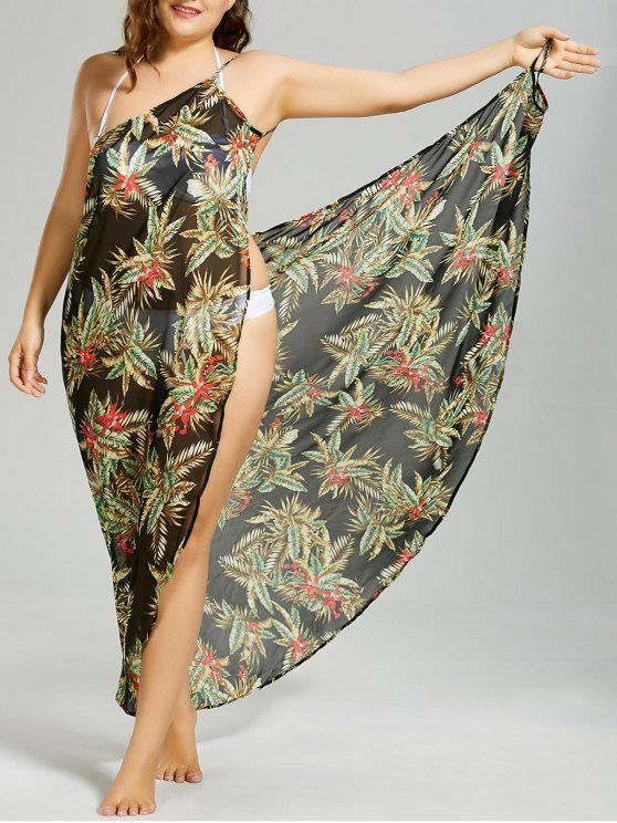 AD : Plus Size Tropical Leaf Cover-up Wrap Dress - BLACK   Tropical leaf pattern beach cover-ups dress crafted in a lightweight chiffon fabric. Multiway wear makes it versatile for summer vibe, such as cami dress, sarong and pareo. The low cut slit cover-ups features spaghetti straps, dramatic crisscross front and alluring open back. Just drape it around yoursel, wear it from one shoulder to the other, you will find it a perfect choice for beach holiday!