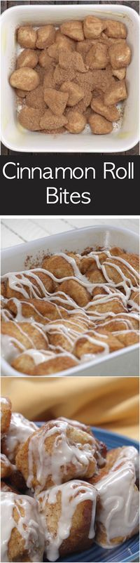 Easy Cinnamon Roll Bites made with Pillsbury Biscuits. Preps in minutes and tastes better than the cinnamon bites you get in the Mall.
