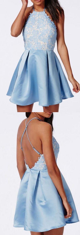 Cheap Prom Dresses, Short Prom Dresses, Prom Dresses Cheap, Blue Prom Dresses, Lace Prom Dresses, Lace Homecoming Dresses, Cheap Blue Prom Dresses, Blue Lace Prom dresses, Online Prom Dresses, Cheap Homecoming Dresses, Light Blue dresses, Homecoming Dresses Cheap, A-line/Princess Prom Dresses, Light Blue Homecoming Dresses, Short Homecoming Dresses, Short Light Blue Prom Dresses With Lace Mini Halter Sale Online