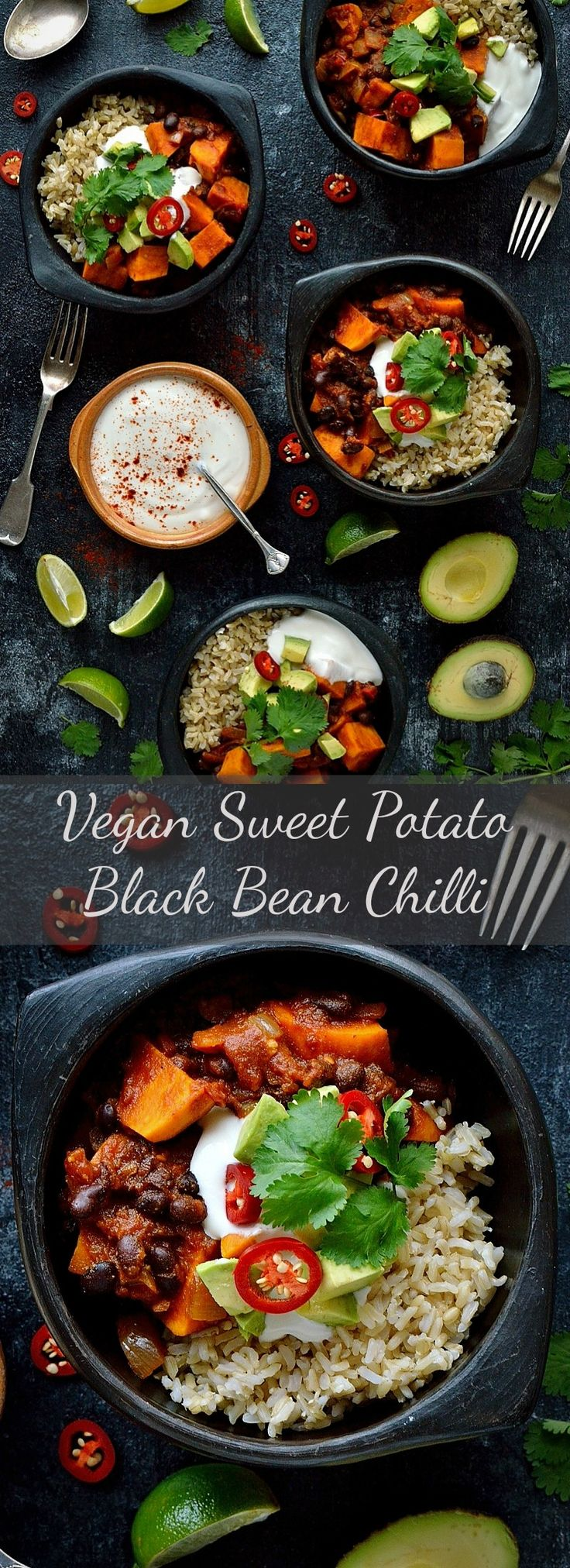Sweet potato black bean chilli - a hearty, warming, healthy and delicious vegan meal.