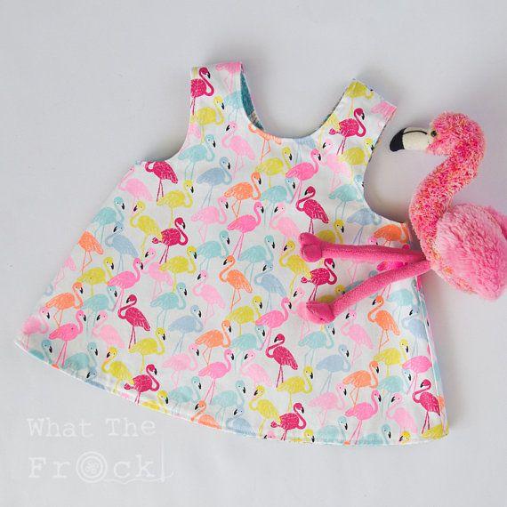 Girls Reversible Pinafore Apron Dress Frock Flamingo and Daisy