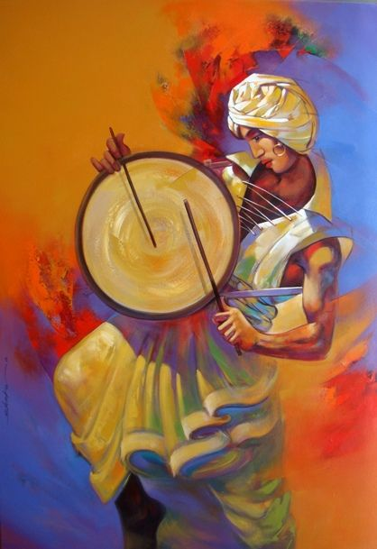 Shankar-Gojare- Drum Roll #Acrylic #Canvas #Paintings #Eikowa #Arts #IndianArts #Online EK-15-0035-AC-0006-48x33