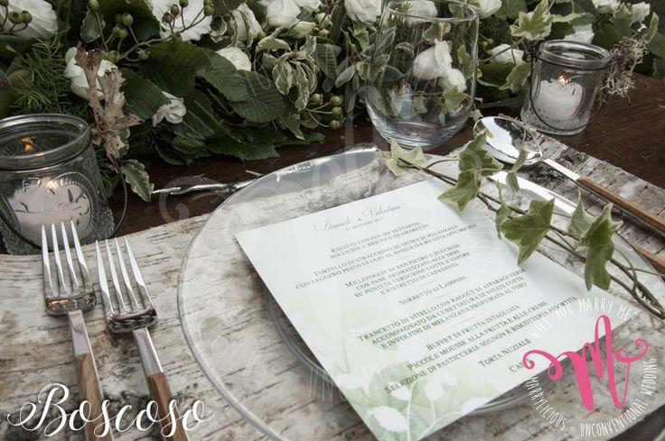 Menu e mise en place in stile Boscoso. Creato da Marrylicious. - Boscoso style menu and mise en place. Created by Marrylicious.
