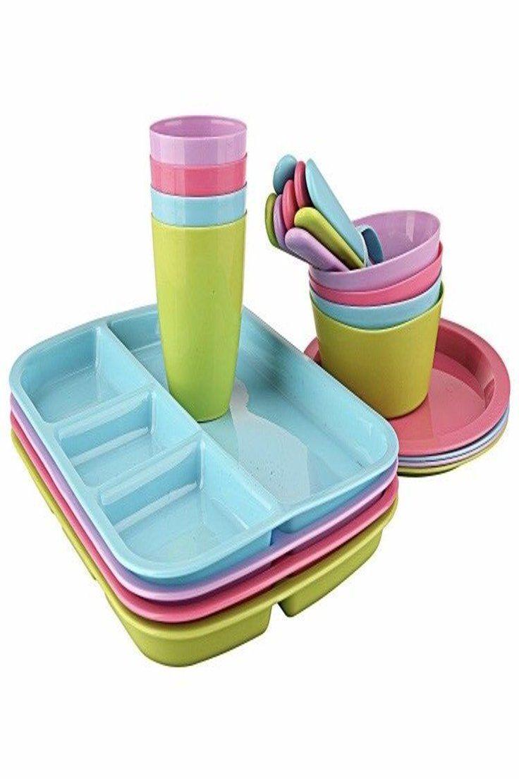 9 99 Plastic Dinnerware Set Mainstays 24 Pcs Kids Dishes Set Microwave Safe Plastic Dinner Kids Dishes Set Plastic Dinnerware Sets Walmart Dish Sets