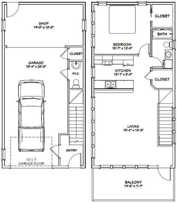20x40 House 1 Bedroom 1 5 Bath 1053 Sq Ft Pdf Floor Etsy In 2020 Carriage House Plans Garage House Plans Garage Apartment Plans