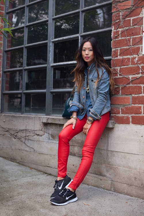 Love the red pants with the cool kicks!