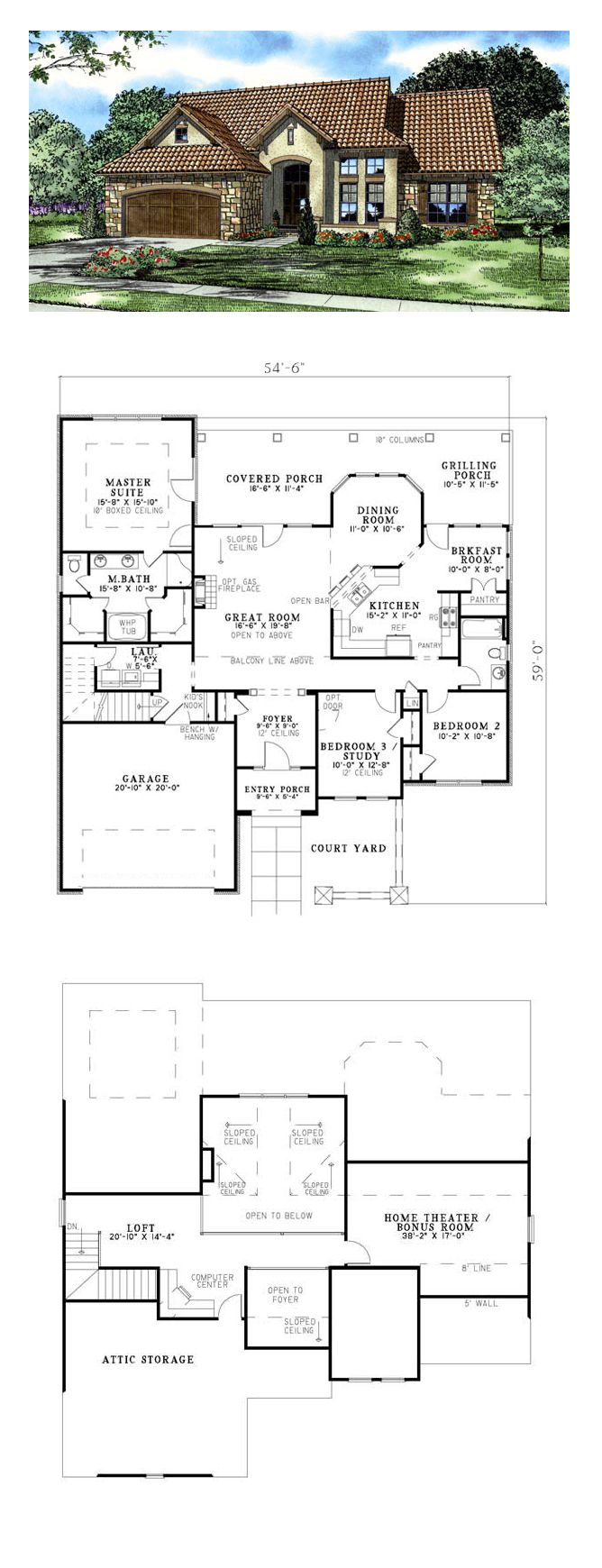 Tuscan house plan 82120 total living area 2095 sq ft Tuscan home floor plans