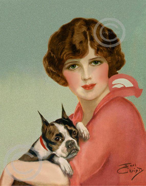 Beautiful Art Deco Flapper Girl Print, Holding Boxer Bulldog, Vintage Fashion, Beautiful Eyes, Art Print by Earl Christy 11x14