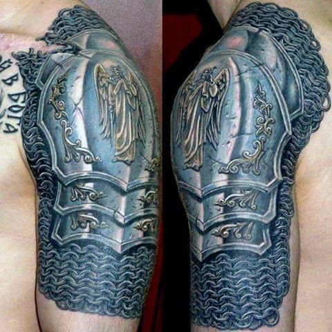 Gauntlet Armor Tattoo On Man