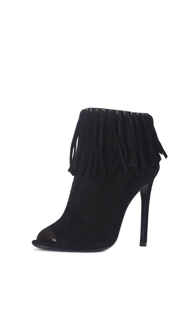 PRADA Suede Fringe Trim Ankle Boot in Black is the perfect boho ...