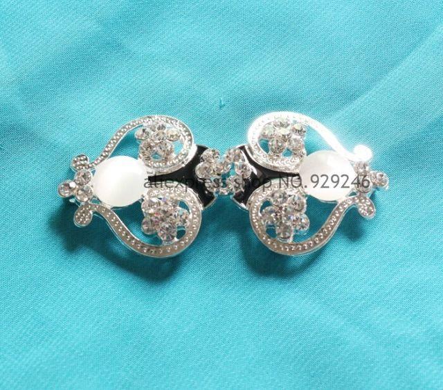 Бесплатная доставка 2 шт./упак. серебро черный белый кристалл горный хрусталь металлической пряжкой для пальто одежды украшения цветок в сочетании кнопки