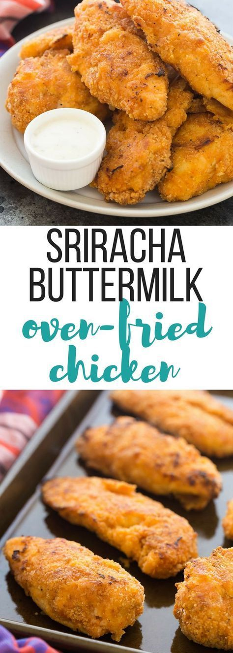 This Crispy Sriracha Buttermilk Oven Fried Chicken is so moist and juicy with ju…