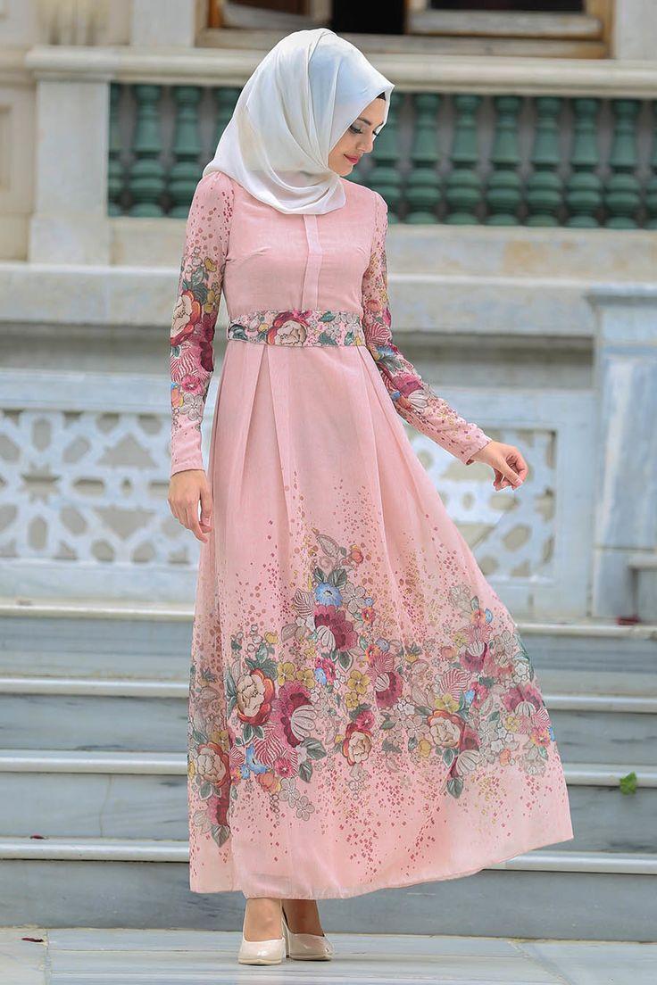 Neva Style - Kemerli Çiçek Desenli Somon Tesettür Elbise 7699SMN