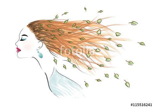 """Pobierz grafikę wektorową royalty free  """"Art woman with disheveled hair""""…"""