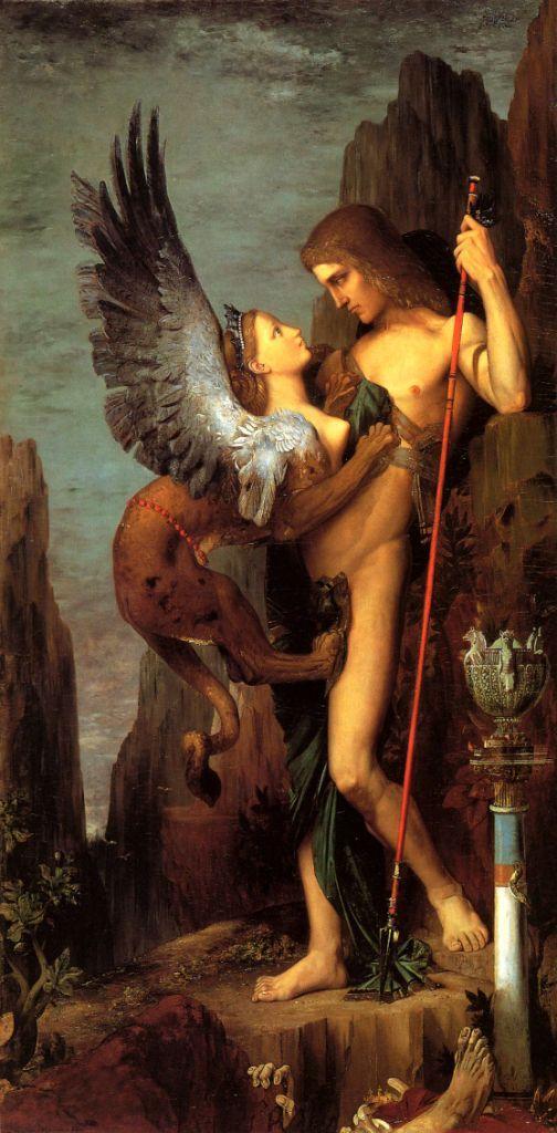 arte simbolista Gustave Moreau   Edipo y la Esfinge (1864), representa el enfrentamiento entre el joven tebano y el monstruo de cabeza femenina de quien nadie lograba escapar vivo