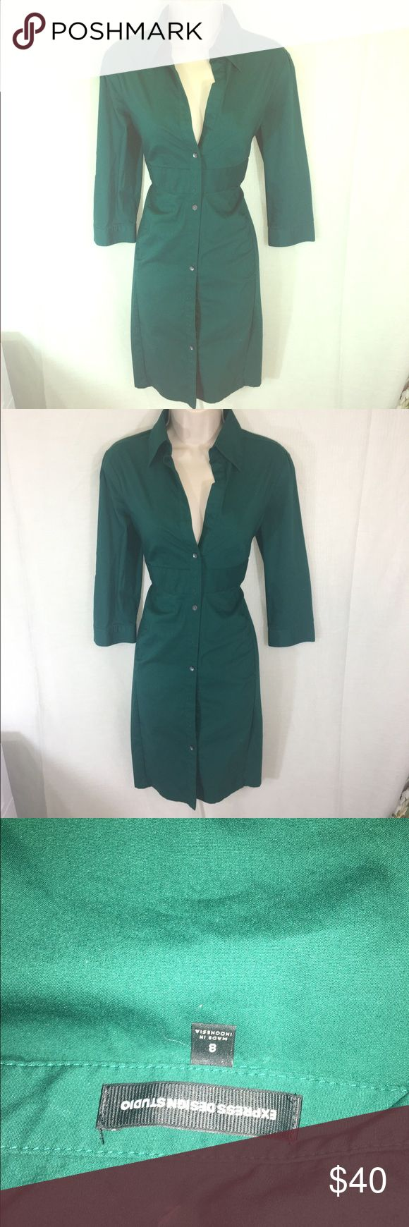 Express Green Shirt Dress-8 A beautiful shirt dress from Express in emerald green. The color is eye catching and the length and design make it a sleek and professional look. Perfect to pair with a belt and heels! Express Dresses