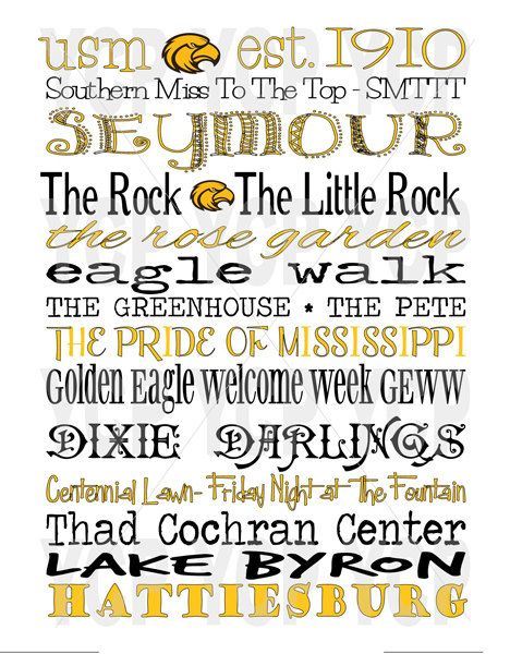 University of Southern Mississippi USM Southern Miss Subway Word Art