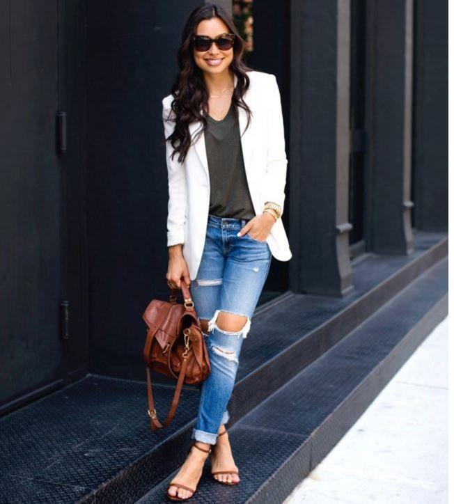 beyaz blazer ceket kombinleri 2017 18 - Güzelkız.com