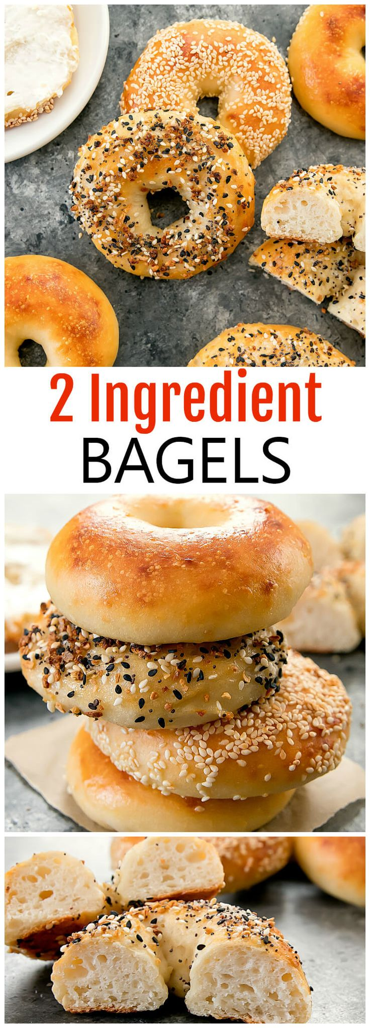 2 Ingredient Bagels. No yeast or proofing! Homemade chewy bagels ready in less than an hour.