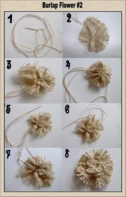 Three different burlap flower tutorials.