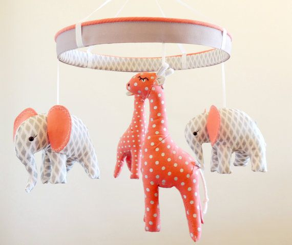 Silver Coral Giraffe Elephant Jungle Baby by MemeFleury on Etsy
