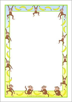 Monkeys and bananas A4 page borders (SB8473) - SparkleBox