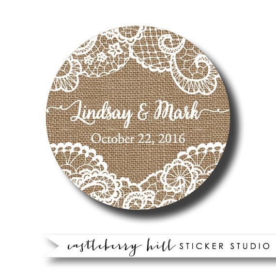 Burlap and lace wedding stickers burlap favor labels burlap with lace burlap wedding idea country wedding