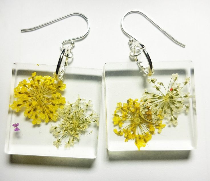 Handcrafted Resin earrings with Flower on Sterling Silver hooks.
