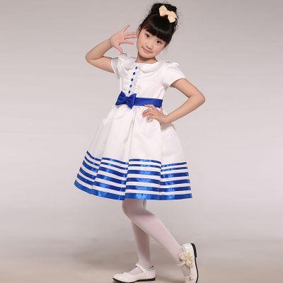 新款儿童海军色蝴蝶结公主裙儿童演出连衣裙女童公主裙