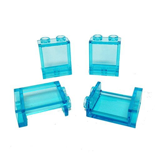 Lego Parts: Panel 1 x 2 x 2 with Side Supports - Hollow Studs (PACK of 4 - Transparent Light Blue):   The Transparent Light Blue Panel 1 x 2 x 2 was released in 2011 and has been used in 22 sets to date in the following categories: Creator (1) Disney Princess (1) Friends (1) Legends of Chima (2) Super Heroes (1) Teenage Mutant Ninja Turtles (1) The Lego Movie (1) Town (12) Ultra Agents (2)