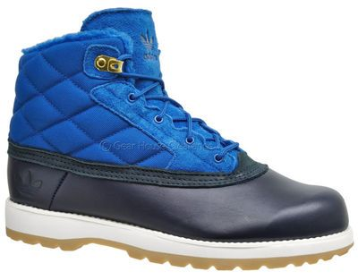 Adidas Originals Adi Navvy Quilt Mens Winter Boots Blue Suede Leather Faux Fur