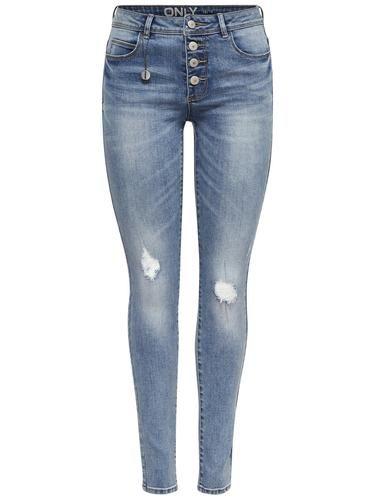 #ONLY #Damen #Skinny #Fit #Jeans #Carmen #reg #destroyed #blau - Skinny-Jeans mit Normal waist - Details im Destroyed-Look - Mit 4 Knöpfen vorn verschließbar - 2 Fronttaschen und eine Münztasche - 2 Gesäßtaschen - 5 Gürtelschlaufen - Dehnbares Material - Schrittnaht: 84 cm in Größe 29/34 - Das Model trägt Größe 28/32
