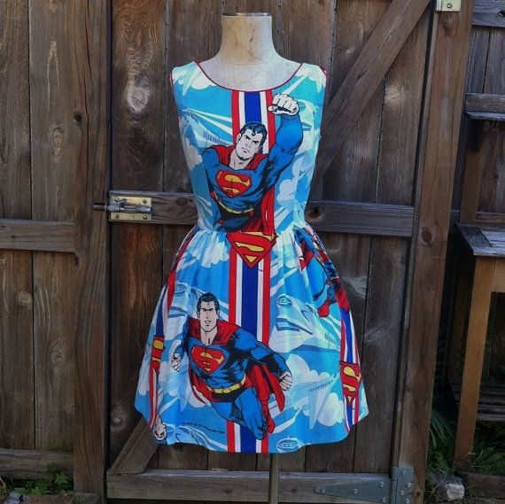 Superman Dress with Full Skirt and Cutout Back, made from recycled fabric by BongaChopShop