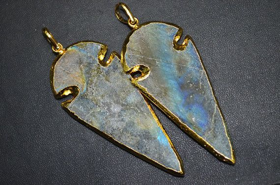 Natural Matte Labradorite BIG Arrowhead Pendant by GauravExports