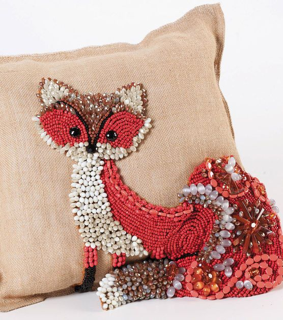 What does the fox say? | #DIY Beaded Fox Pillow | Directions and supplies available @ Joann.com