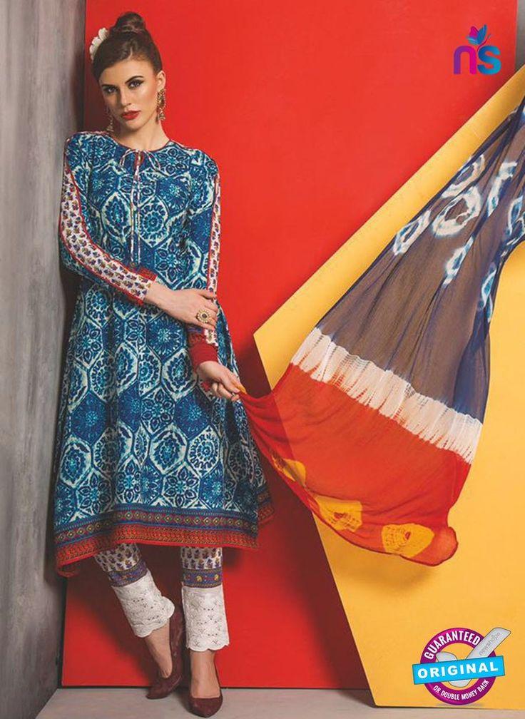 SC 13482 Blue and Multicolor Cambric Designer Un-stitched Plazo Suit