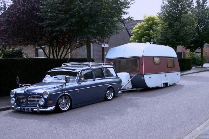 Lowered Volvo wagon towing a lowered camper trailer - slick.