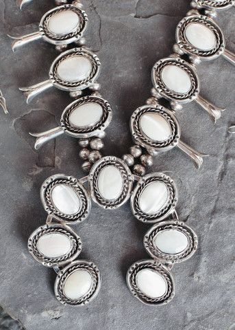 Navajo Mother of Pearl Naja Squash Blossom Necklace