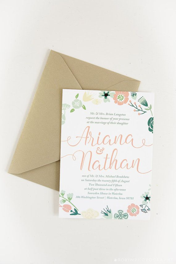 tulip wedding invitation templates%0A Floral Wreath Wedding Invitation and RSVP Card  Simple but classic wedding  invitation with a wreath